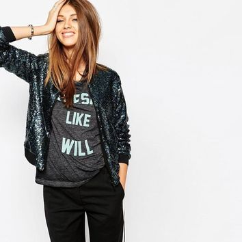 Sexy Sequined Bomber Jacket