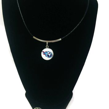 NFL Fashion Snap Jewelry Tennessee Titans Logo Necklace Set With 2 Charms For Football Fans