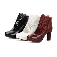 Big size 32-48 high quality spring & autumn women zip sweet lace & pu platform high heels wedding ankle boots 3 colors