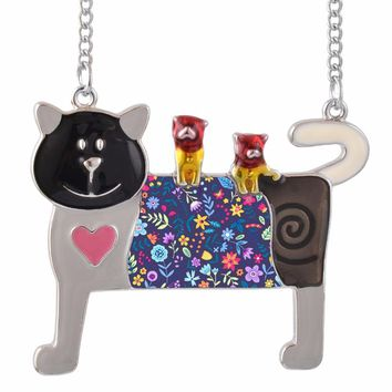 Novelty Fashion Jewelry for Women Enamel Cats with Baby Statement Animal Cute Pendant Necklace with Long Chain