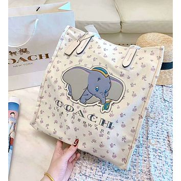 Coach new women's small flying elephant print canvas handbag shoulder bag