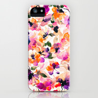 Chic Floral Pattern Pink Orange Pastel Watercolor iPhone & iPod Case by Girly Road