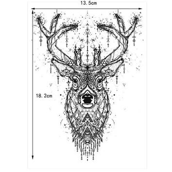Beauty Body Temporary Tattoo KM-048 Elk Deer Pattern Women Men Flower Arm Leg Art Waterproof Tattoo Sticker Colored Drawing