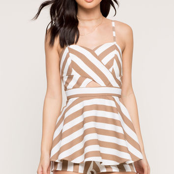 Stripe Cut Out Skort Romper