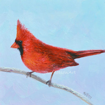 RED CARDINAL Bird, original oil bird painting, bird decor, Bird Art, Etsy Art, wall art, living room art,original woodland art, Jan Matson