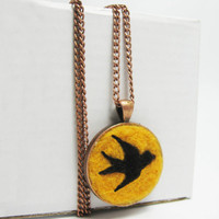 Needle Felted Barn Swallow Bird Pendant and Chain, Marigold Yellow and Brown with a Copper Metal Finish, Jewelry Gifts Under 20