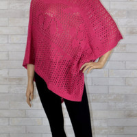 Sleek Sophisticate Open Knit Poncho- Lucy Paris- Rose Pink