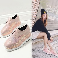Buy Anran Sequined Platform Oxfords | YesStyle