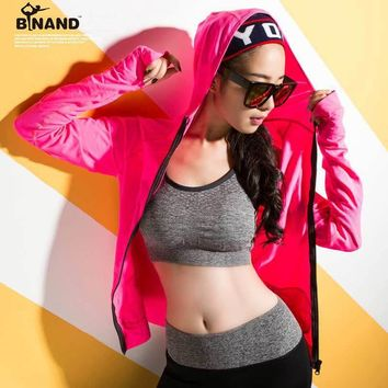 Mid-weight Dry Fit Outdoor Sport Full Zip Thumbholes Long Sleeve Hooded Hoodies Sweatshirt Women With 2 Front Split Pocket