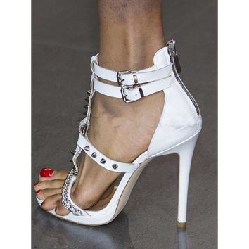 Rivets Metal Chain Back Zipper Open Toe Stiletto High Heel Sandals