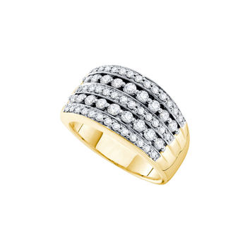 14kt Yellow Gold Womens Round Diamond Five Row Cocktail Band Ring 1.00 Cttw 30313