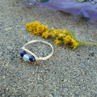 Stone ring, silver ring, Lapis ring, Lapis Lazuli ring, Opal ring, wire jewelry, wire wrapped ring, bohemian ring,custom ring,healing stones