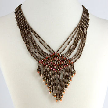 Antiqued Gold Beaded Necklace Vintage Inspired Crystal Beadwork Jewelry