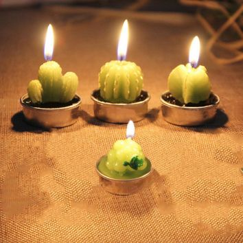 6pc/lot Mini Cactus Table Tea Candle Lights Home Garden Simulation Plant Candle Decorative Party Wedding Candles Home Decoration