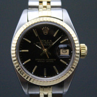 Rolex Ladies DateJust - Black Dial -Two Toned 18k Yellow Gold & Stainless Steel