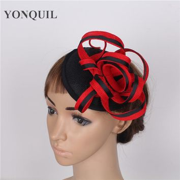 High quality 17color RED christmas decor sinamay fascinators hats cocktail hat wedding hair accessories occasion hats for women