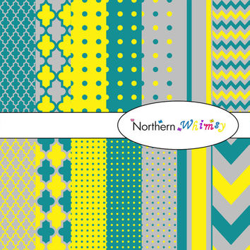 Digital Scrapbooking Paper Set – Dark Teal , Bright Yellow & Grey , stripe , chevron , polka dot , and quatrefoil patterns INSTANT DOWNLOAD