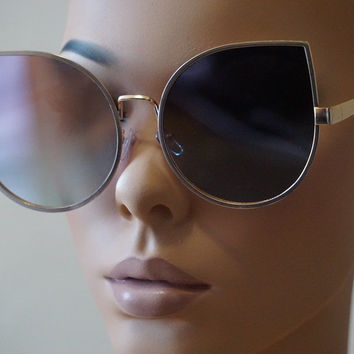 OVERSIZE VINTAGE RETRO CAT EYE Style SUNGLASSES Rose Gold Frame Pink Mirror Lens