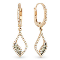 0.60ct Round Cut Brown & White Diamond Pave Dangling Earrings in 14k Rose & Black Gold