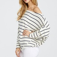 Off Shoulder Striped Dolman Top - White and Black