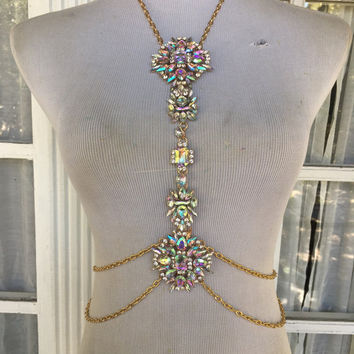 Rainbow Stardust Crystal Body Chain - O/S | Rave Accessories | Body Jewelry