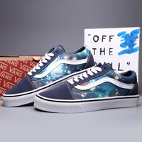 Trendsetter VANS Canvas Old Skool Galaxy Print Flats Sneakers Sport Shoes