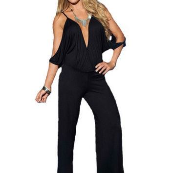 Black Off Shoulder V-Neck Jumpsuit