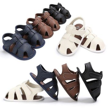 Summer Baby Boys Sandals Prewalker Toddler Kids Soft Sole PU Leather Crib Shoes