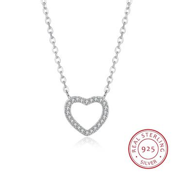S925 Silver Necklace Classic Fashion Simple Heart-Shaped Stone Necklace