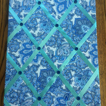 Blue Paisley Photo Memory Board
