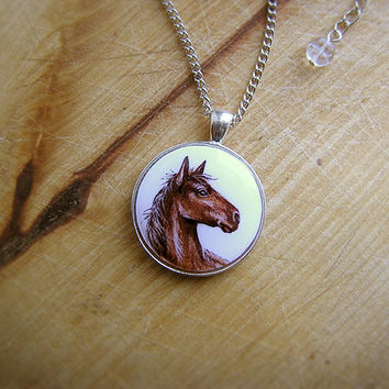 Animal Necklace Horse Portrait watercolor original hand painting, for horses lovers, brown and white, silvertone
