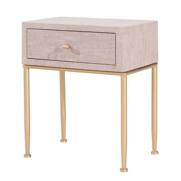Ricci Rafia 1-Drawer Pattern End Table Cream