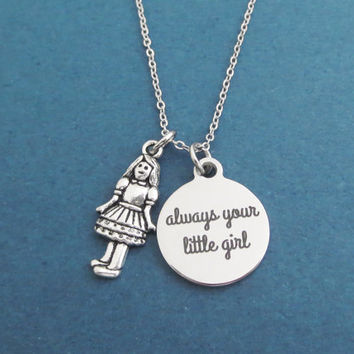 Always your little girl, Girl, Silver, Neclace, Birthday, Friendship, Best friends, Sister, Christmas, New year, Gift, Jewelry