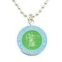 Get Back Supply Co — Small Silver-plated St. Christopher Medals (Lime-Babyblue)