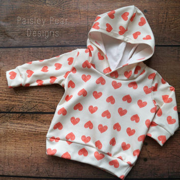 Baby Children Handmade Organic Jersey Knit Hooded Sweatshirt Red Hearts on Ivory Backgroudn Love Valentines Day Theme Print