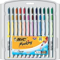 BIC Marking Permanent Marker Fashion Colors, Ultra Fine Point, Assorted Colors, 36-Count