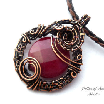 Wire Wrapped pendant, copper jewelry, ruby red jade, wire wrapped jewelry handmade, woven wire jewelry, necklace