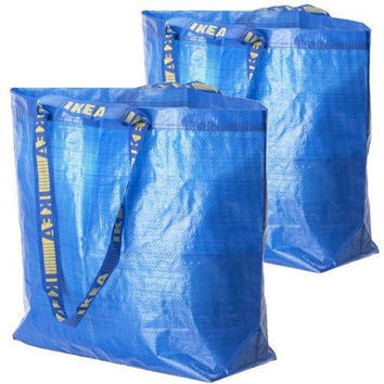 2 Ikea Frakta Shopping Bags 10 Gal Blue Tote Multi Purpose Durable Material