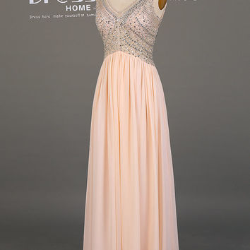 New Design Peach Chiffon Long Prom Dress/Sexy V Neck Silver Beading Prom Dress/Prom Dresses Long/Peach Prom Dresses 2016/Prom Dress  DH497