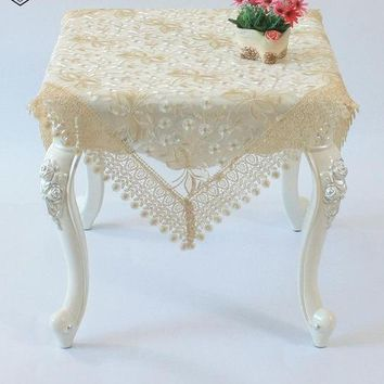 Embroidered Floral Elegant Beige Lace Fall Table Runner  Beige