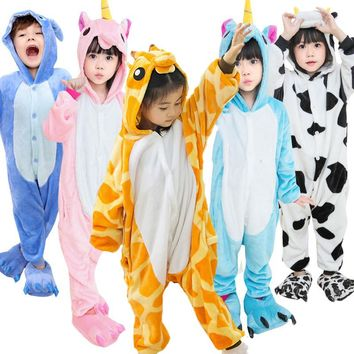 Unicorn Kids Pajamas for girls Boys Pijama stitch panda Pikachu Cosplay Animal Onesuit children Pyjamas Kids sleepers Flannel