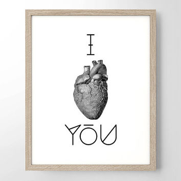 I Heart You Anatomical Vintage Engraving - Art Print - Typography Art - Home Office Decor - Housewarming Gift - Wedding Gift - College Dorm