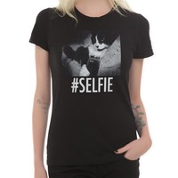 Cat Selfie Girls T-Shirt Size : X-Large