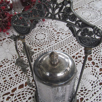 Gorgeous Victorian Antique Cut  Glass Pickle Caster with Pickle Fork EAPG Glass Victorian Wedding Table Setting Candy Dish