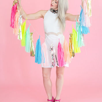 Neon and Pastel Confetti Tassel Garland, Balloon or Mini (Free Shipping)