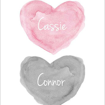 Pink and Gray Nursery Art, Twins Personalized Nursery Art, 8x10 Watercolor Heart, Brother Sister, Gray and Pink Nursery Decor, Twins Gift