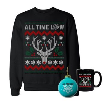 Let All Time Low keep you warm through the winter! This is an Officially Licensed All Time Low Sweatshirt, Ornament, and Mug. These are limited edition items, so grab them while you can!
