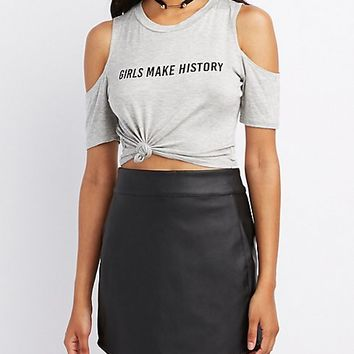 Girls Make History Cold Shoulder Crop Top
