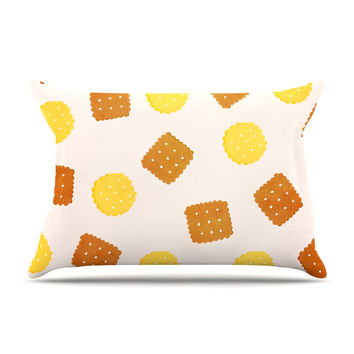 "Strawberringo ""Do You Love Biscuits?"" Brown Yellow Pillow Sham"