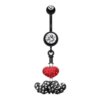 Glistening Love Mustache Belly Button Ring